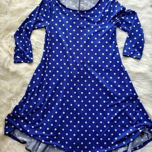 Nina Leonard Blue Polka Dot Dress